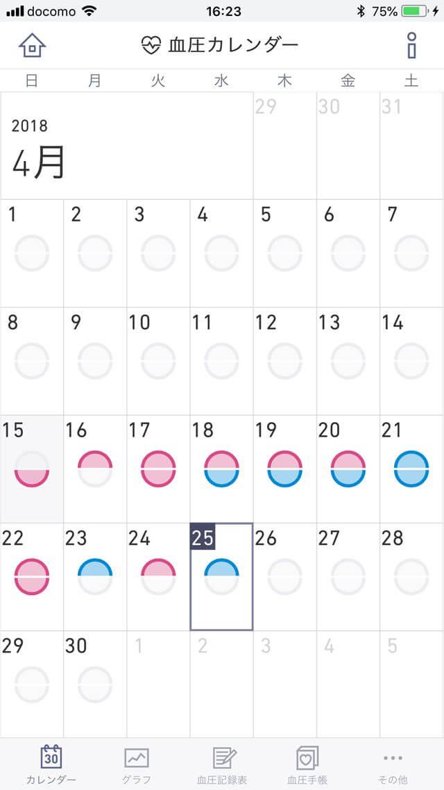 簡単血圧日記_履歴カレンダー