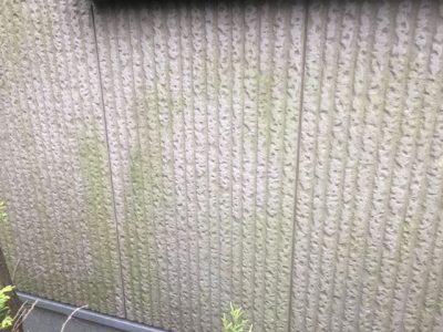 外壁のコケがついた部分です。高圧洗浄で落としてから、防カビ薬品を塗布することでコケの発生を抑制します。