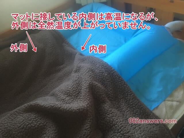 布団乾燥機ではマットと接している面は高温になるが、反対側は温度が上がらない